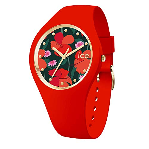 Ice-Watch - ICE flower Floral passion - Rote Damenuhr mit Silikonarmband - 017576 (Small)