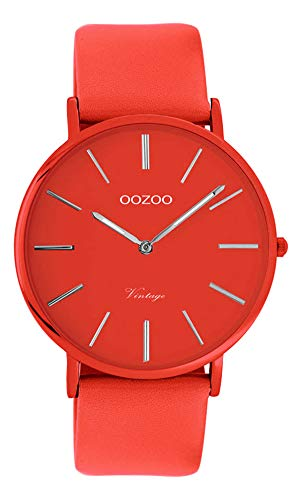 Oozoo Vintage Damenuhr Colors of The Summer mit Lederband Flach 40 MM Rot C9885