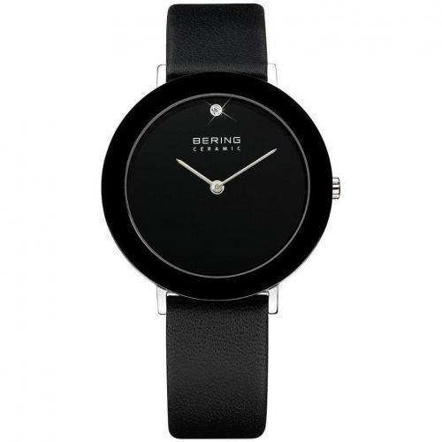 Bering Uhr schwarz mit weißem Kristall