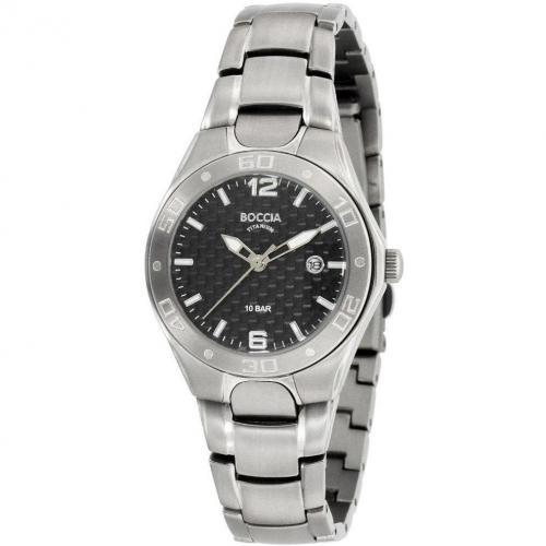 Boccia Titanium Uhr silber/schwarz