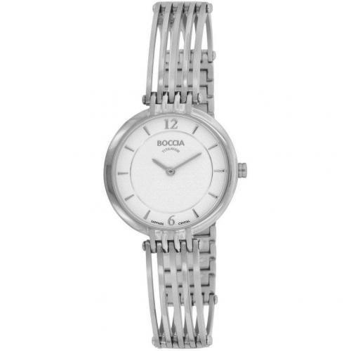 Boccia Titanium Uhr weiß mit Logogravur am Verschluss