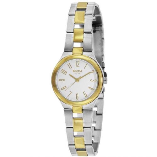 Boccia Uhr weiß gold ionen plattierte Lünette