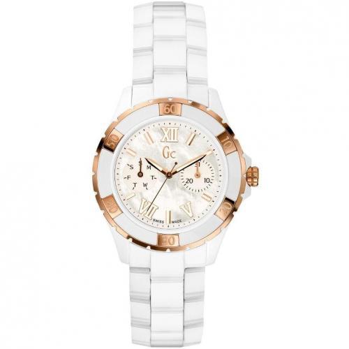 Gc Watches Uhr weiß mit rosegoldener Lünette