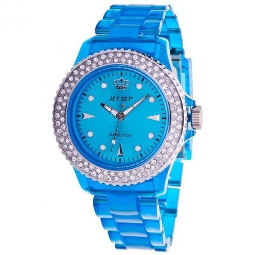 Jet Set Addiction Transparent Stone Uhr blau