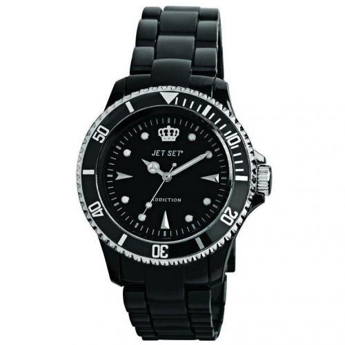 Jet Set Addiction Transparent Uhr schwarz