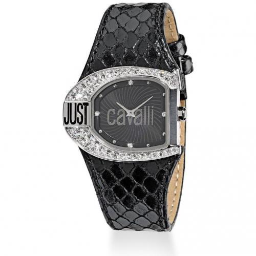 Just Cavalli Uhr schwarz mit Kristallen besetzt