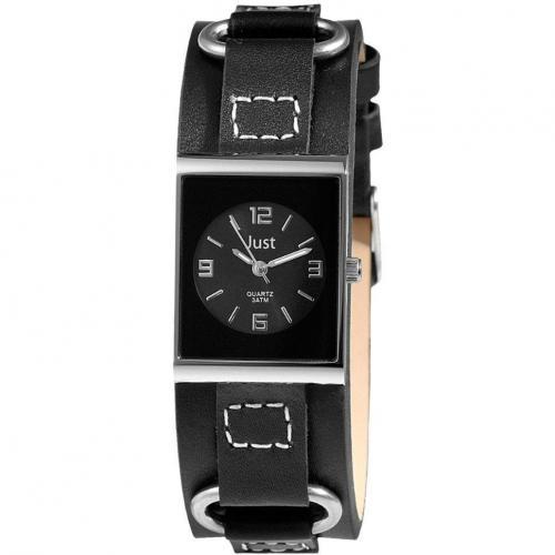 Just Uhr schwarz mit kratzunempfindlichem Mineralglas