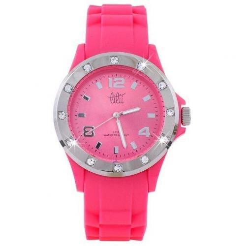 Lilii Showtime Uhr pink mit fluoreszierenden Zeigern