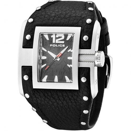 Police Avenger Uhr schwarzsilber