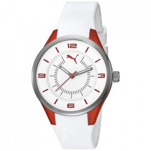 Puma Fusion S Coral Uhr weiss/rot