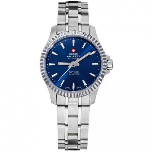 Swiss Military Uhr blau aus Edelstahl