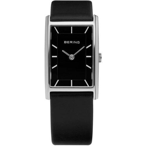 Uhr schwarz mit kratzfestem Glas von Bering