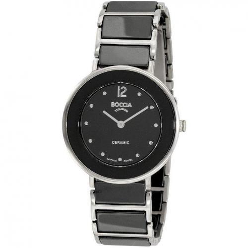 Uhr schwarz mit Faltschließe von Boccia