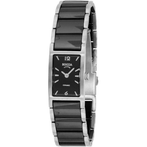 Uhr schwarz mit Keramik-Armband von Boccia