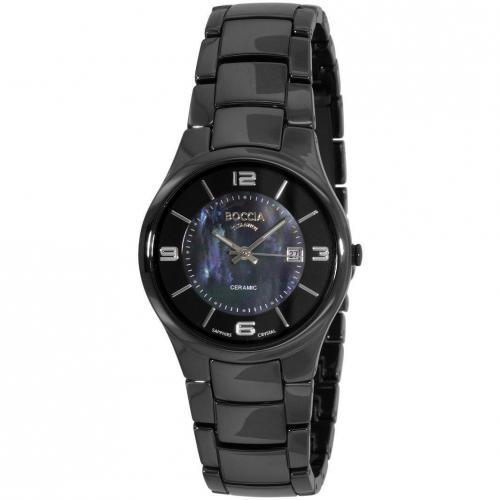 Uhr schwarz mit synthetischem Saphir Glas von Boccia