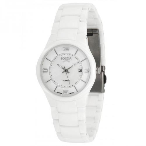 Uhr weiss mit Keramikarmband von Boccia