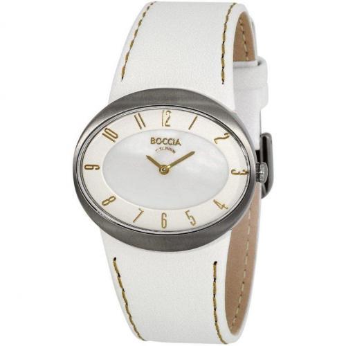 Uhr weiss mit Quarzwerk von Boccia