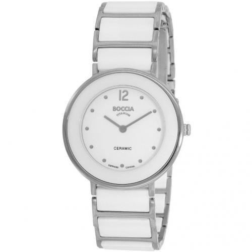 Uhr weiß/silber mit Titan-Faltschließe von Boccia