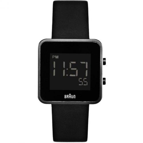 Uhr schwarz mit Leder-Armband von Braun Label