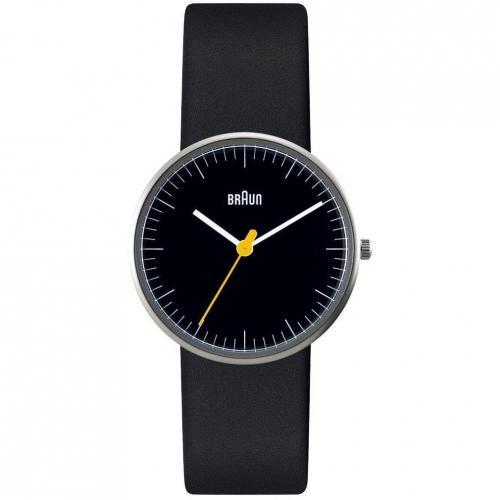 Uhr schwarz mit Mineralglas von Braun Label