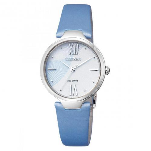 Uhr blau mit Lederarmband von Citizen