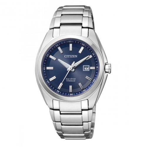 Uhr blau mit Titanarmband von Citizen