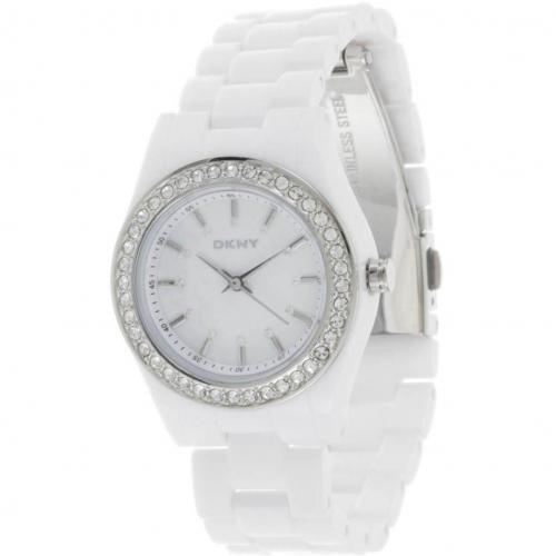 Uhr weiss mit Brillanten-Ziersteinen von DKNY