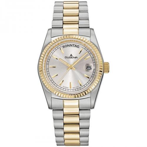 Uhr gold/silber mit nicht verschraubter Krone von Dugena