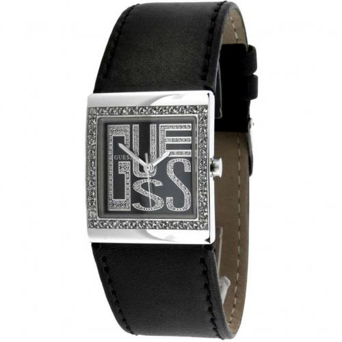 Uhr schwarz mit Mineralglas von Guess