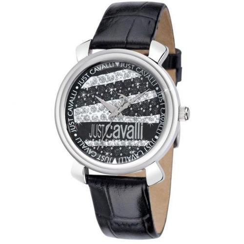 Uhr schwarz mit Edelstahlgehäuse von Just Cavalli
