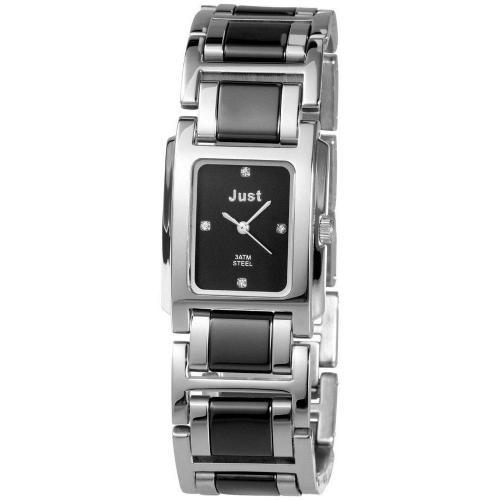Uhr schwarz/silber mit Edelstahlarmband von Just