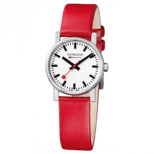 Evo Uhr weiß/rot/silber von Mondaine