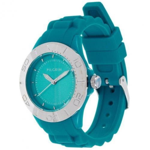 Uhr silverplated/turquoise blue von Pilgrim