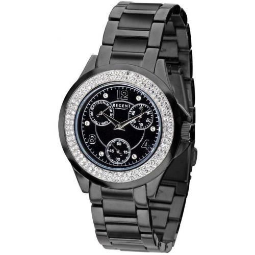 Uhr schwarz mit Edelstahl beschichtetem Armband von Regent