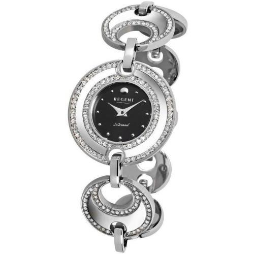 Uhr schwarz mit Kristallen von Regent