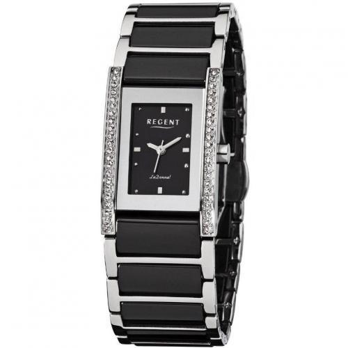 Uhr schwarz mit Kristallen auf der Lünette von Regent