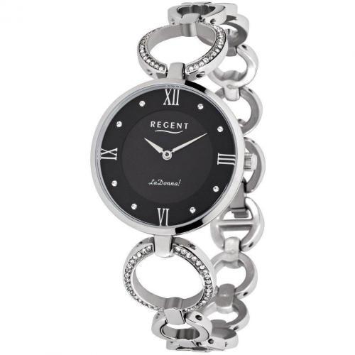 Uhr schwarz mit Logogravur auf der Clipschließe von Regent