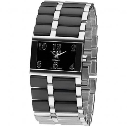 Uhr schwarz mit Mineral-Uhrenglas von Regent