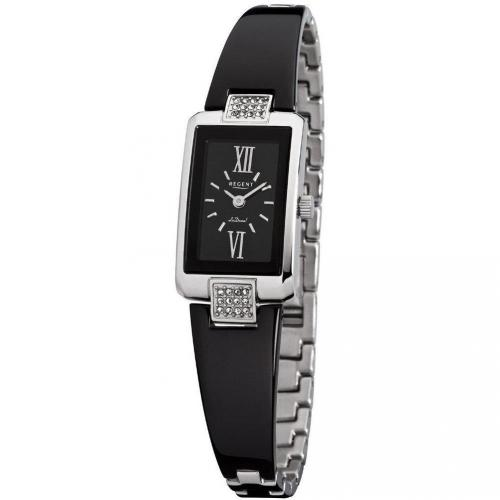 Uhr schwarz mit weißen Kristallen von Regent