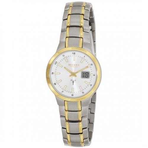 Uhr weiß mit gold-plattierter Lünette von Regent