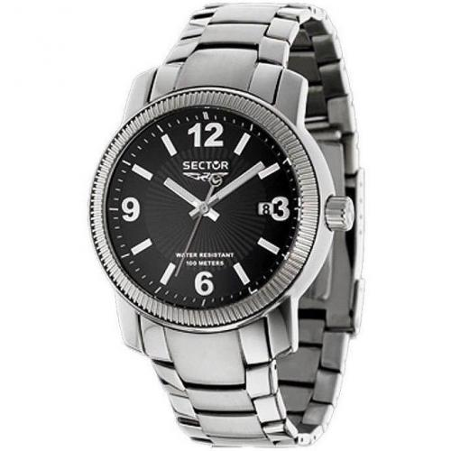 Uhr schwarz mit Datumsanzeige von Sector