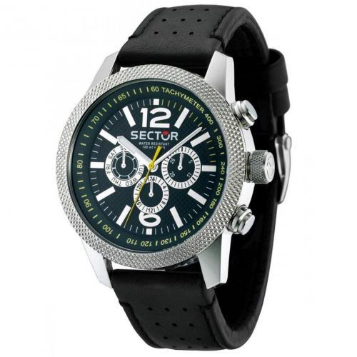 Uhr schwarz mit echtem Leder-Armband von Sector