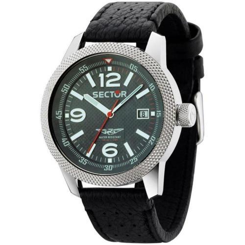 Uhr schwarz mit Edelstahl-Gehäuse von Sector