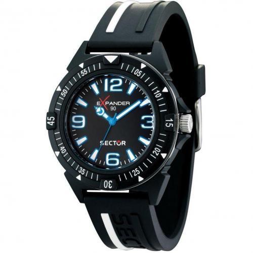 Uhr schwarz mit Pu-Armband von Sector