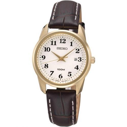 Uhr braun/weiß/gold von Seiko