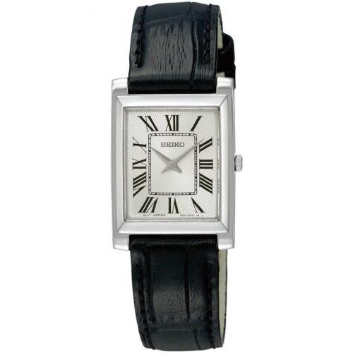 Uhr schwarz mit Lederarmband und Krokoprägung von Seiko